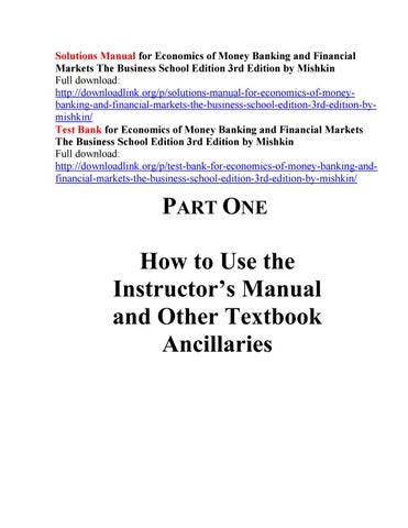 Solutions manual for economics of money banking and financial