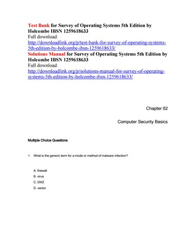 test bank for survey of operating systems 5th edition by holcombe rh issuu com Computer System Unit Fundamental Matrix