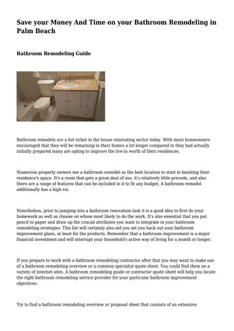 save your money and time on your bathroom remodeling in palm beach