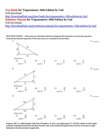 Test Bank For Trigonometry 10th Edition By Lial By Byrd111 Issuu