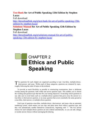 Test bank for art of public speaking 8th edition by stephen lucas