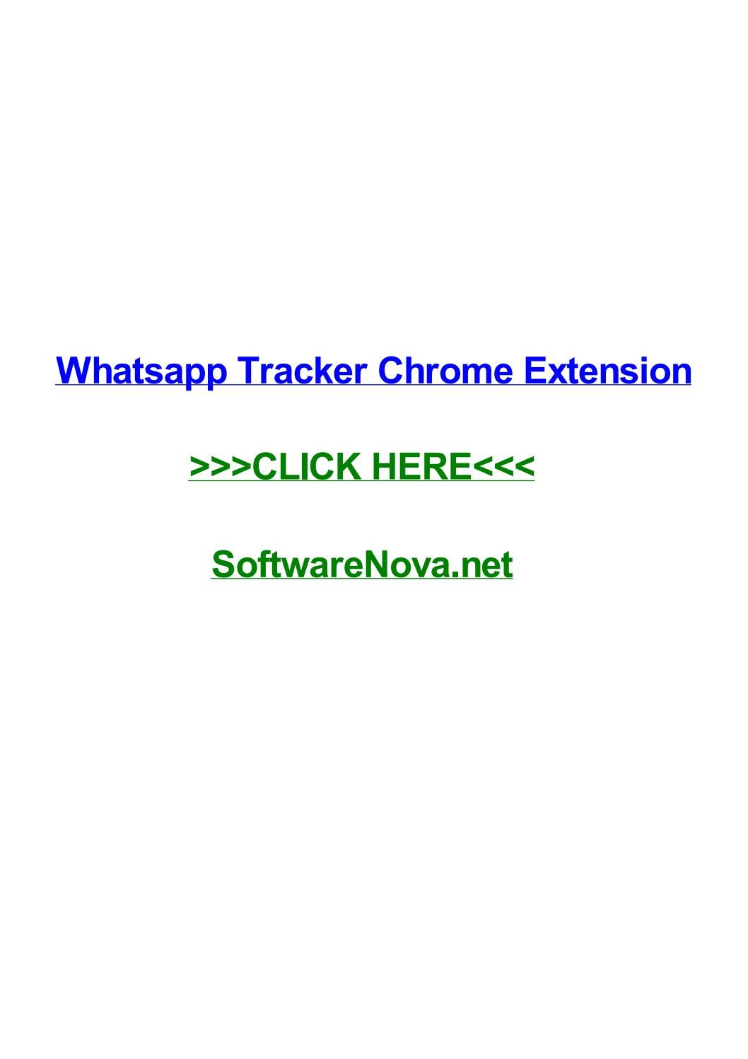 Whatsapp Tracker Chrome Extension By Melissadido Issuu