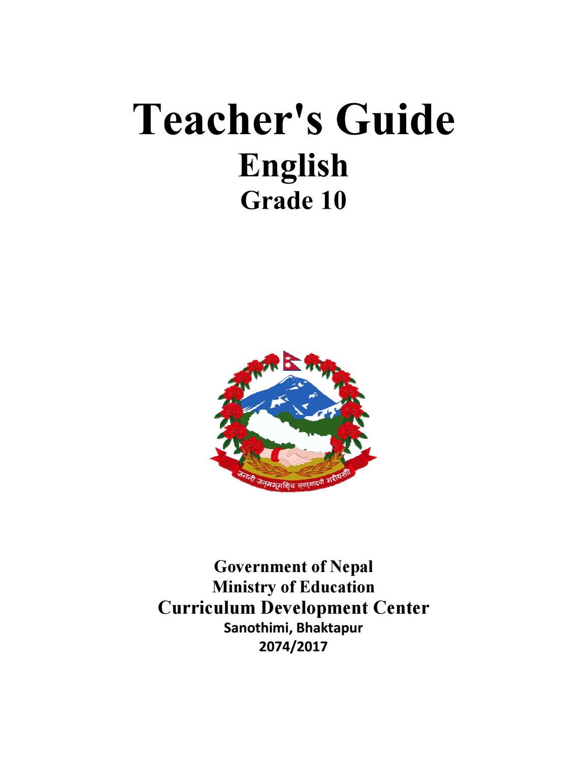Grade Ten English Teacher S Guide By Ritesh Shrestha Issuu