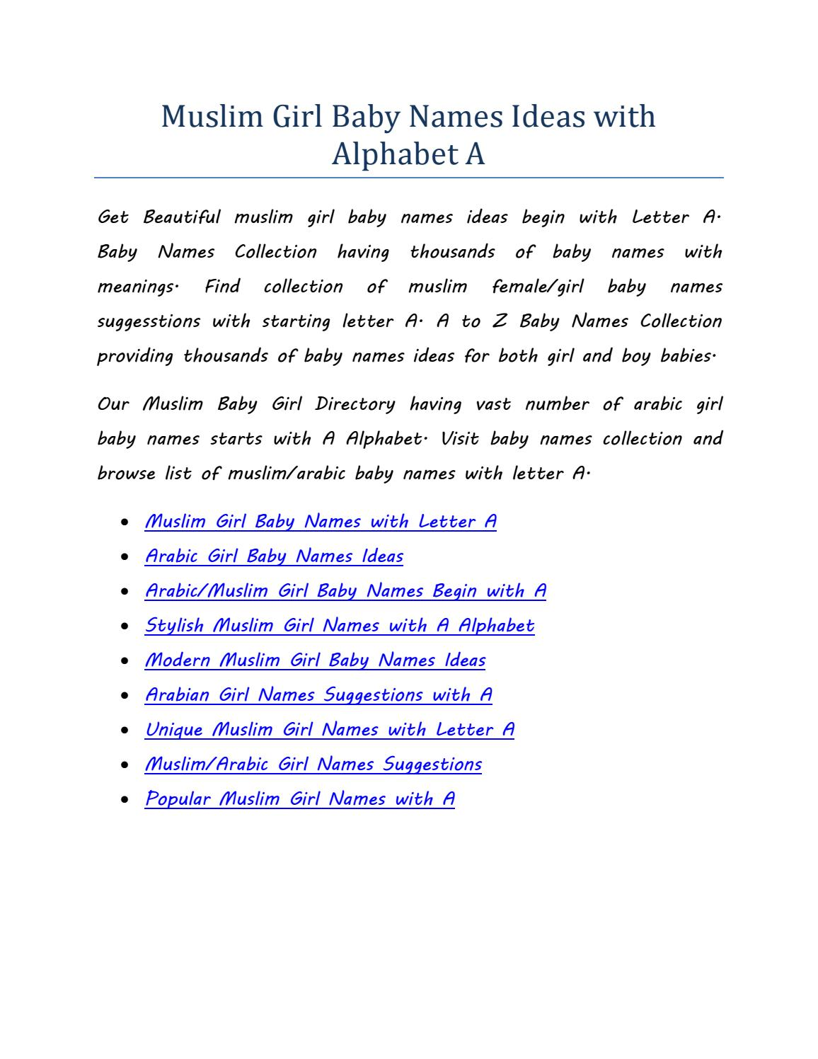 Muslim girl baby names ideas with alphabet a by