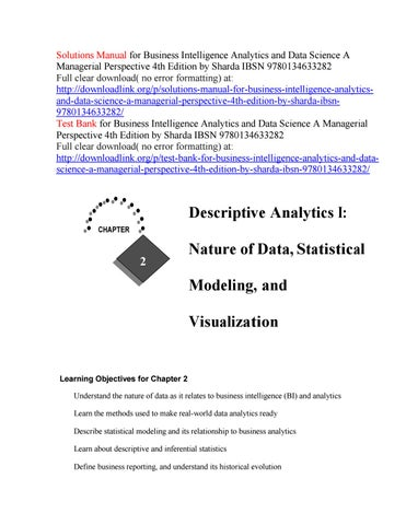 Solutions manual for business intelligence analytics and