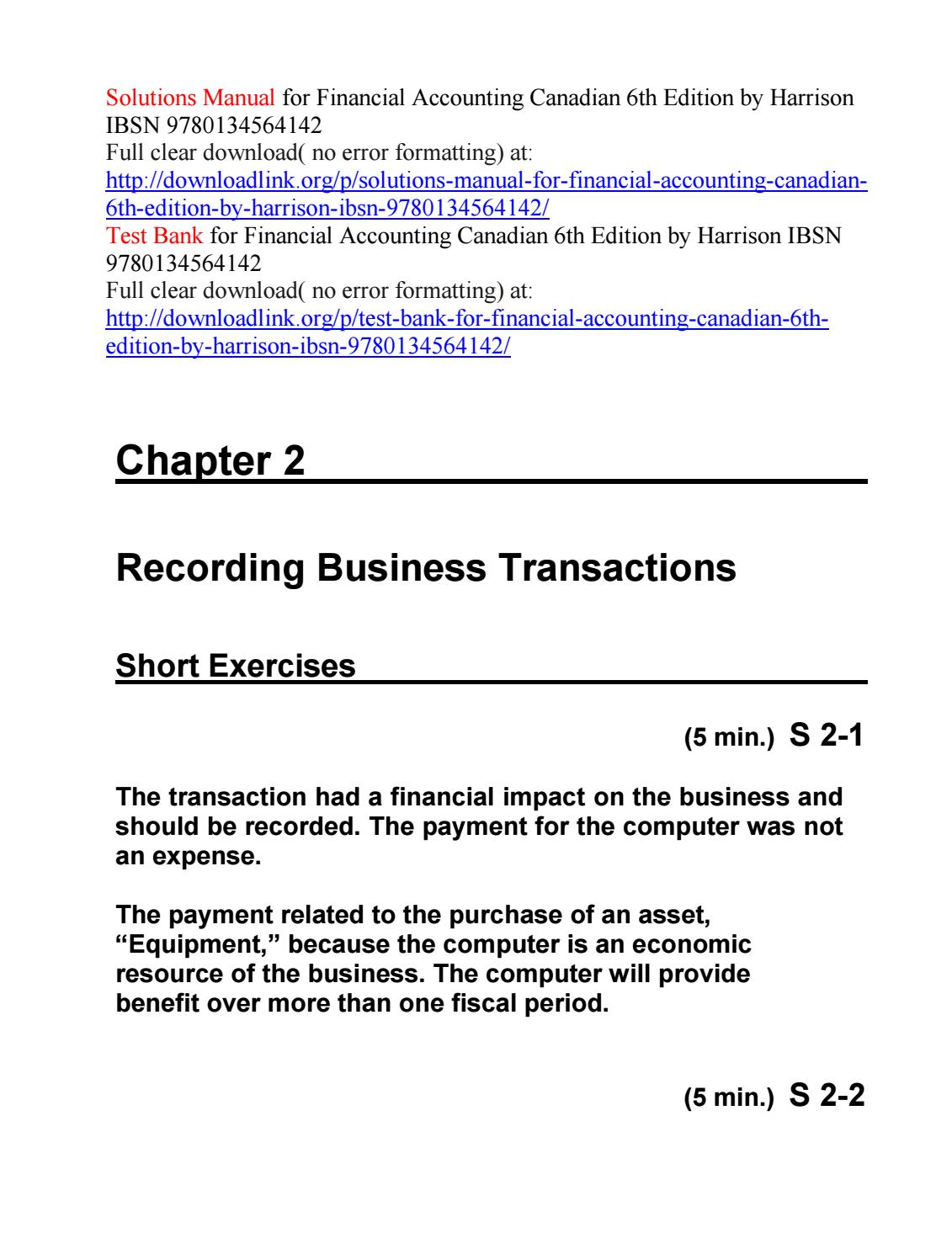 Solutions manual for financial accounting canadian 6th edition by harrison  ibsn 9780134564142 by Michael9130 - issuu