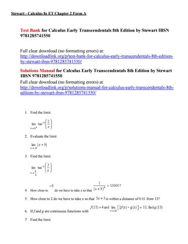 Test bank for calculus early transcendentals 8th edition by