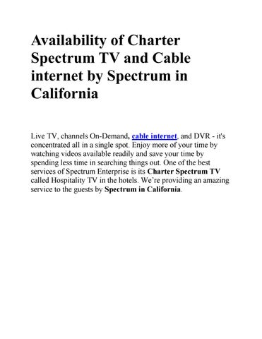 Availability of charter spectrum tv and cable internet by spectrum