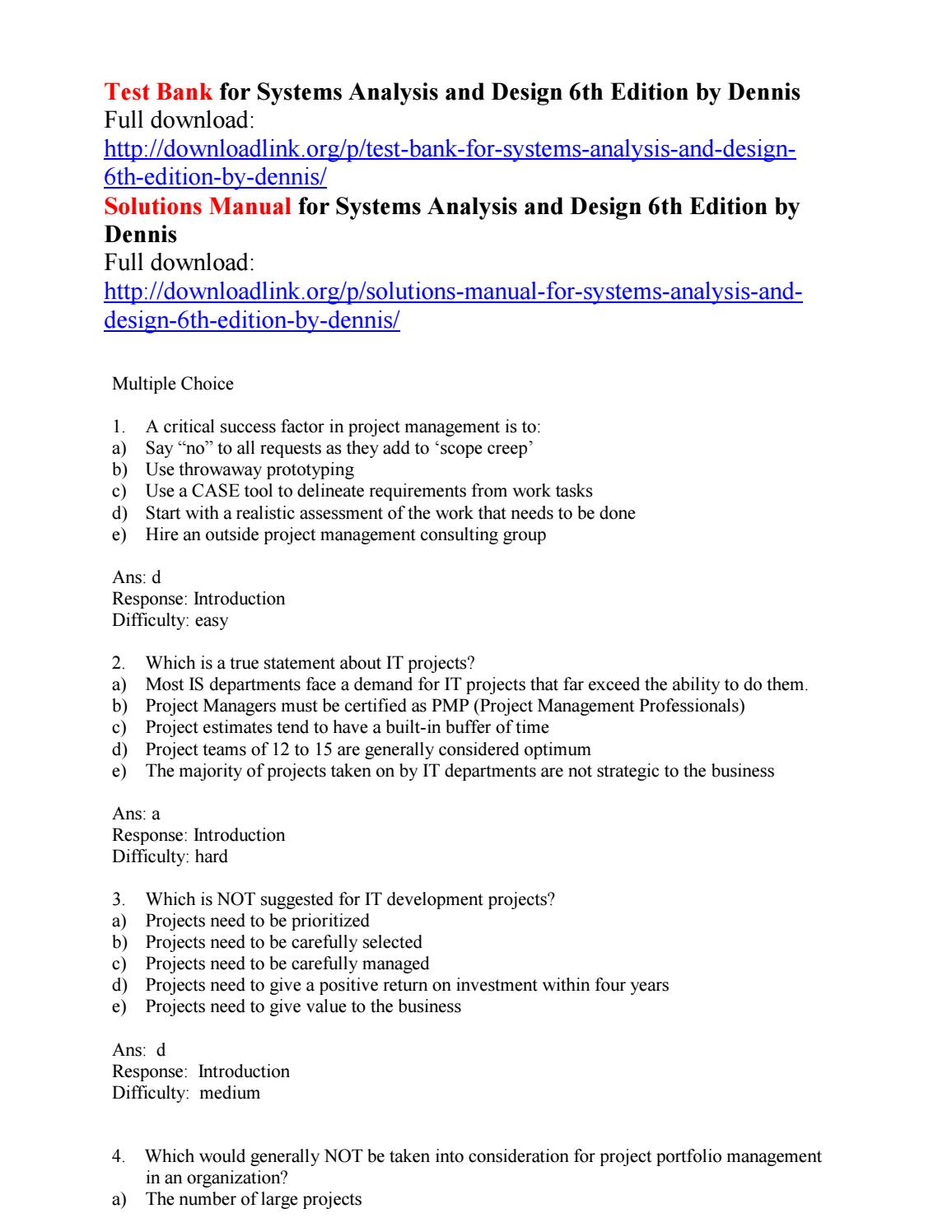 Test Bank For Systems Analysis And Design 6th Edition By Dennis By Beechy111 Issuu
