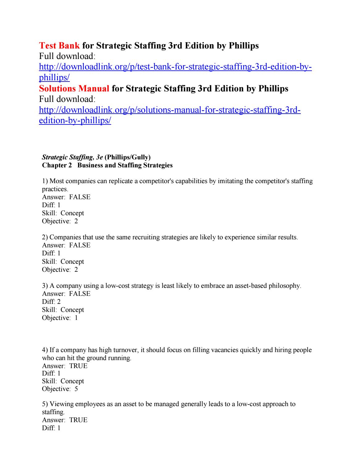 Test Bank For Strategic Staffing 3rd Edition By Phillips By Glen111 Issuu