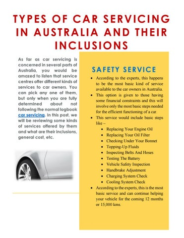 Types Of Car Servicing In Australia And Their Inclusions By Dennis