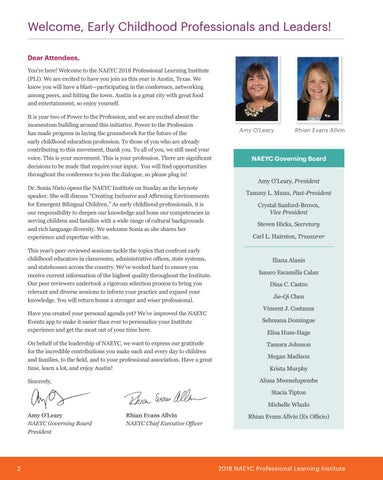 Page 4 of NAEYC Institute 2018 Welcome Letter