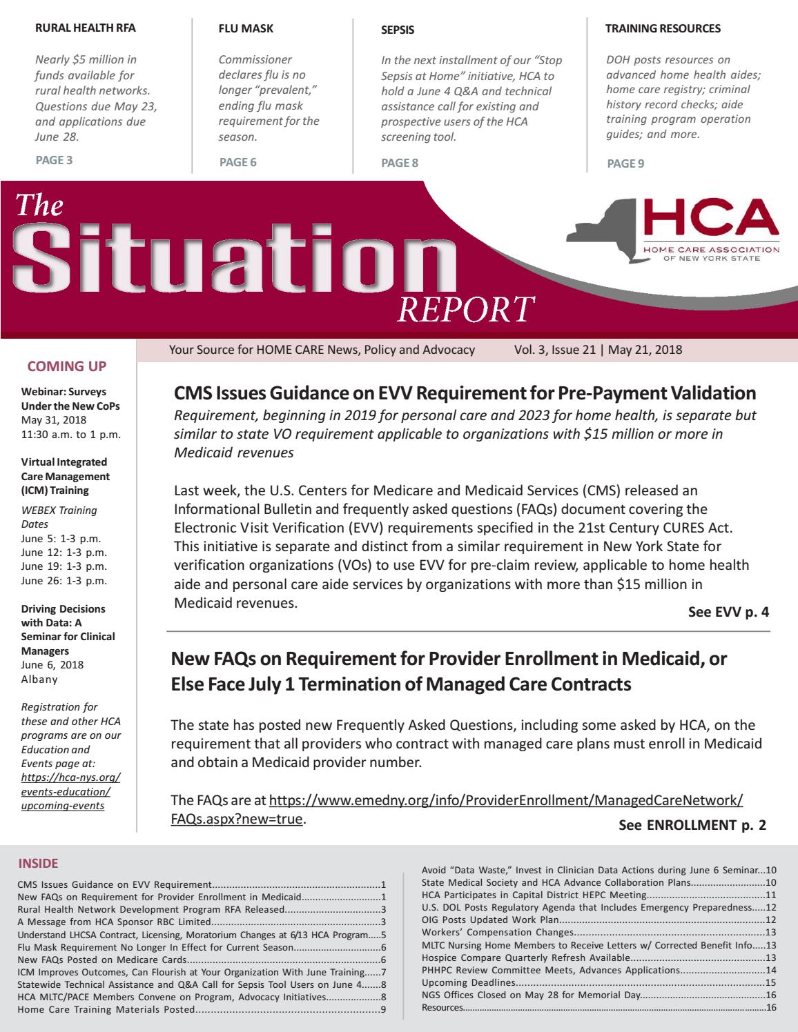 Osers Issues New Guidance Concerning >> May 21 2018 Edition Of The Situation Report By Home Care
