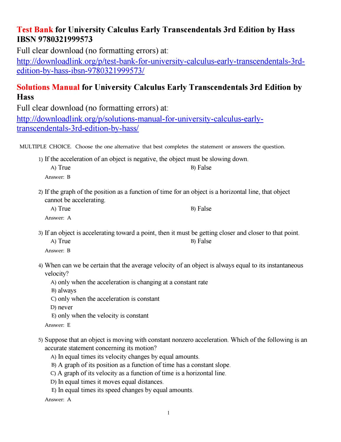 Test bank for university calculus early transcendentals 3rd edition by hass  ibsn 9780321999573 by Freeman855 - issuu