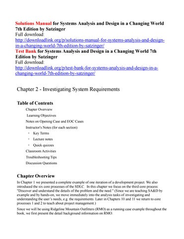 Solutions Manual For Systems Analysis And Design In A Changing World 7th Edition By Satzinger By Hass111 Issuu