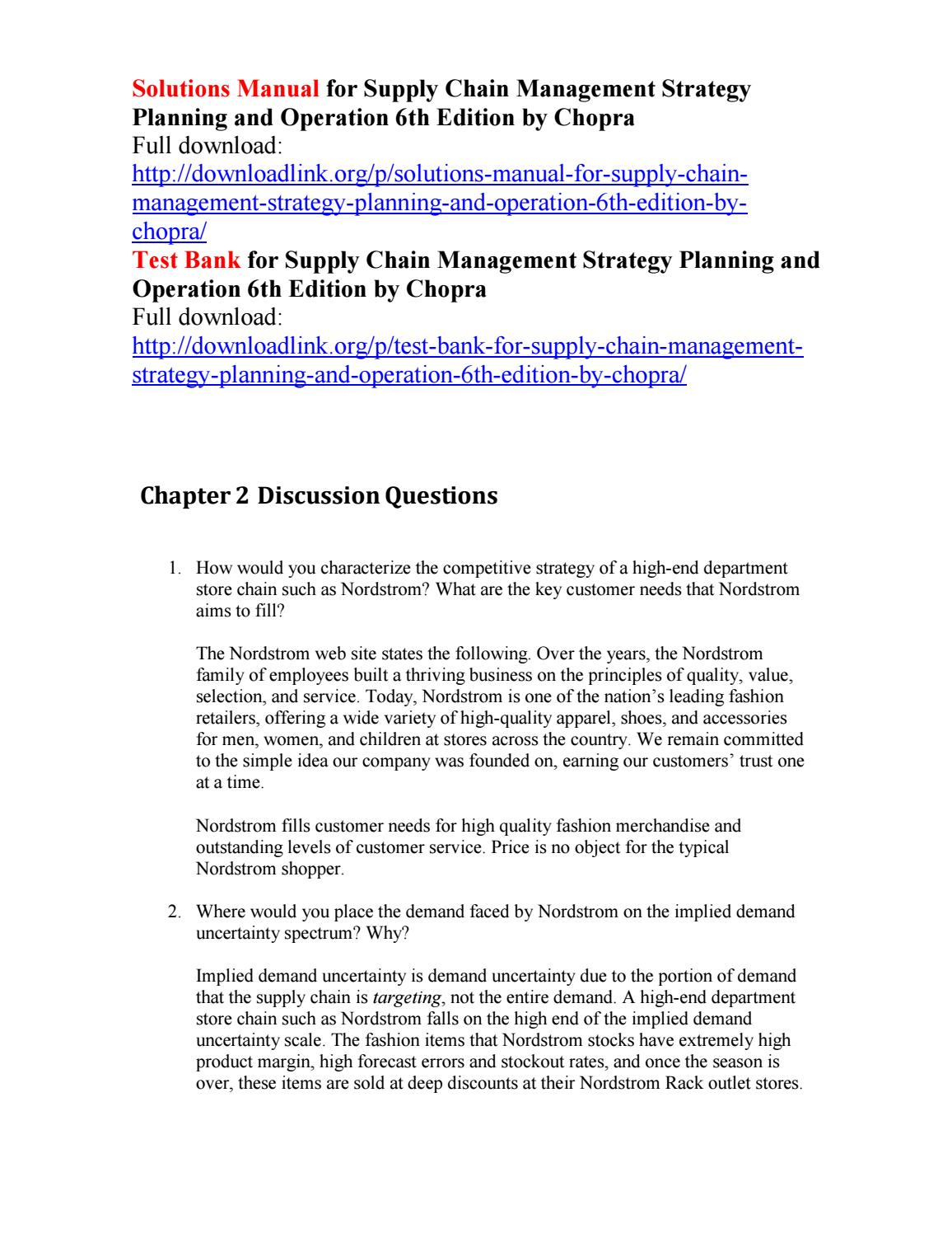 Solutions manual for supply chain management strategy planning and  operation 6th edition by chopra by Feldmann111 - issuu