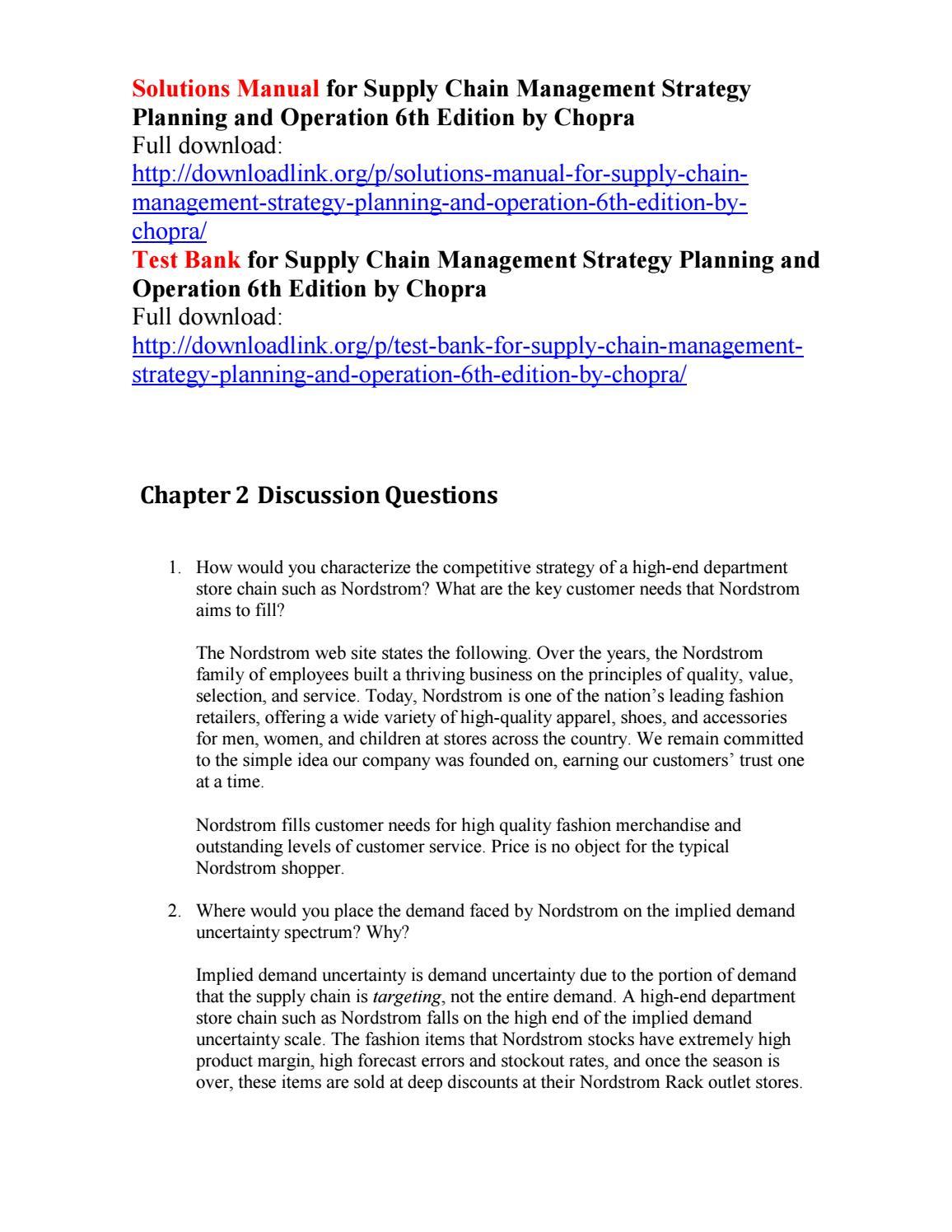 Chopra Meindl Supply Chain Management Pdf