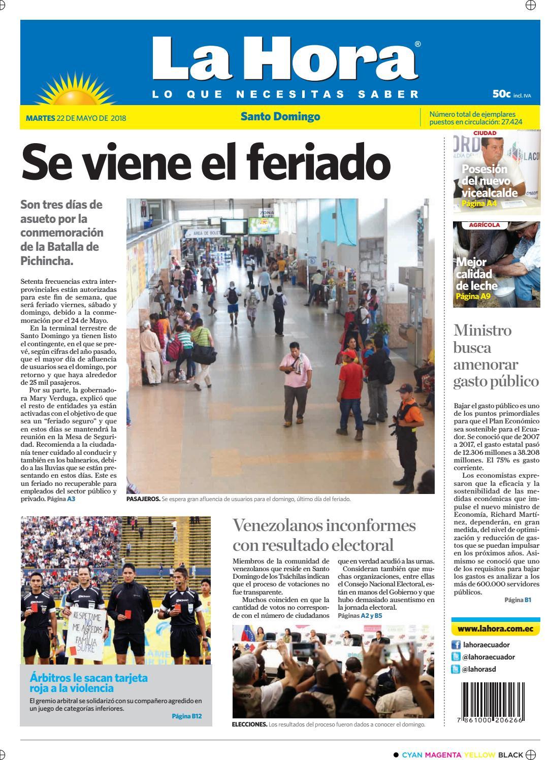 3228a30a1 Santo Domingo 22 de mayo de 2018 by Diario La Hora Ecuador - issuu