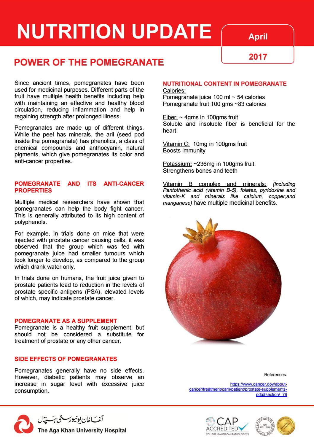 Power Of The Pomegranate Nutrition E Flyer Ii By Agakhanhospital Issuu