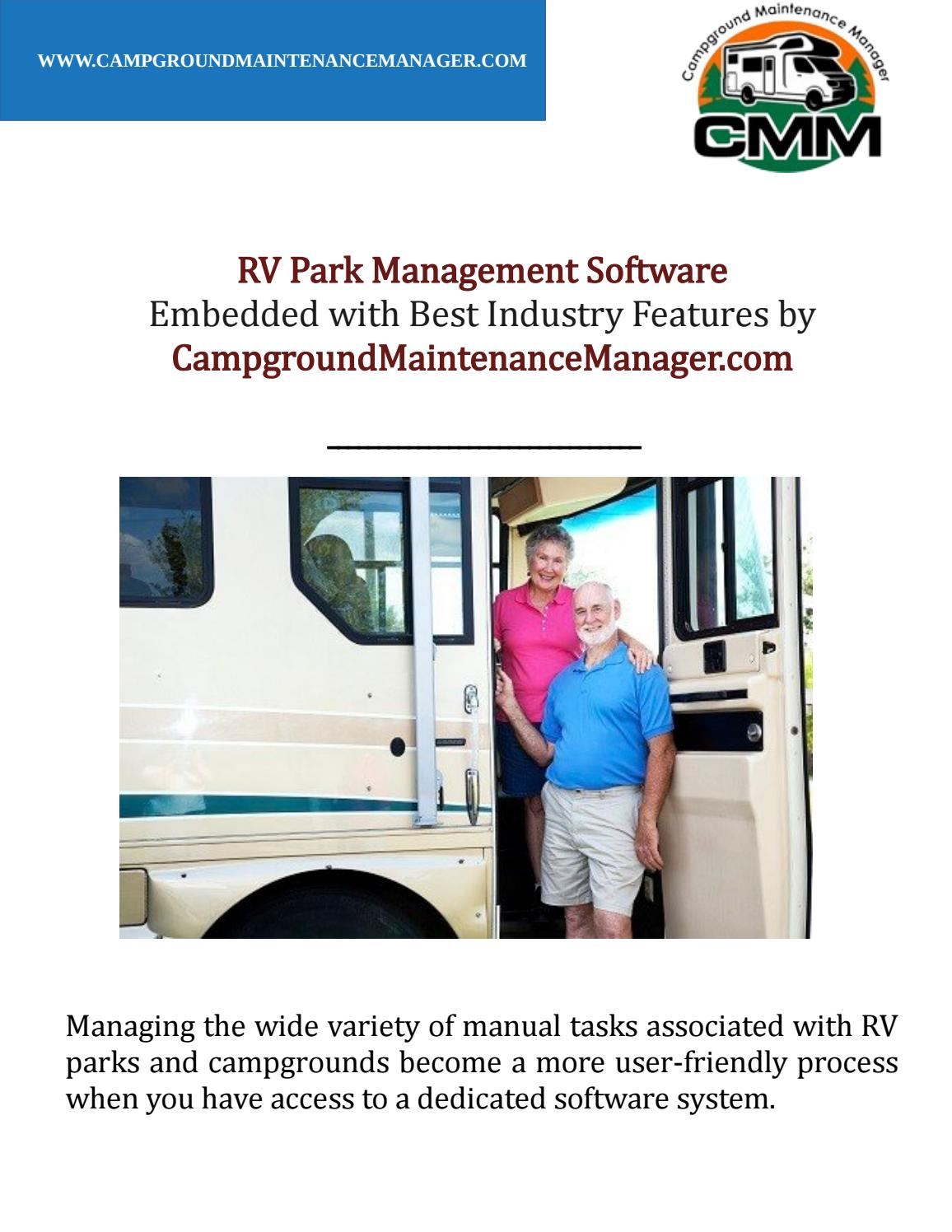 RV Park Management Software Embedded with Best Industry Features by CampgroundMaintenanceManager.com