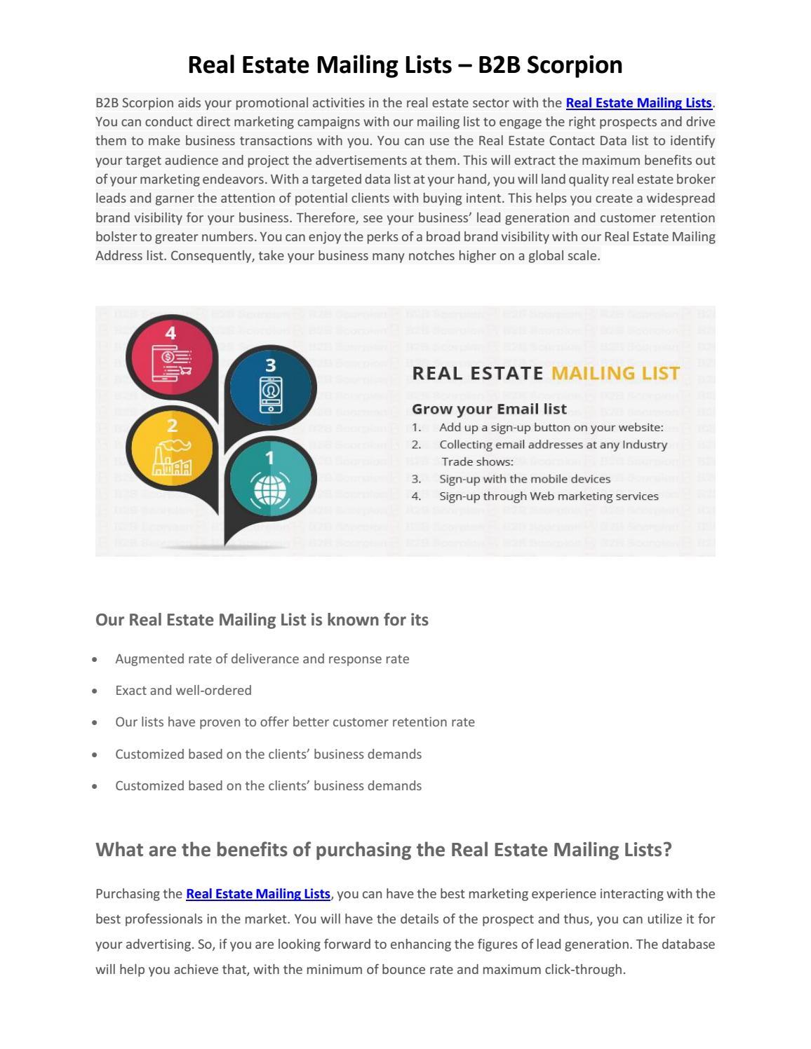 Real estate mailing lists   b2b scorpion by B2B Scorpion - issuu