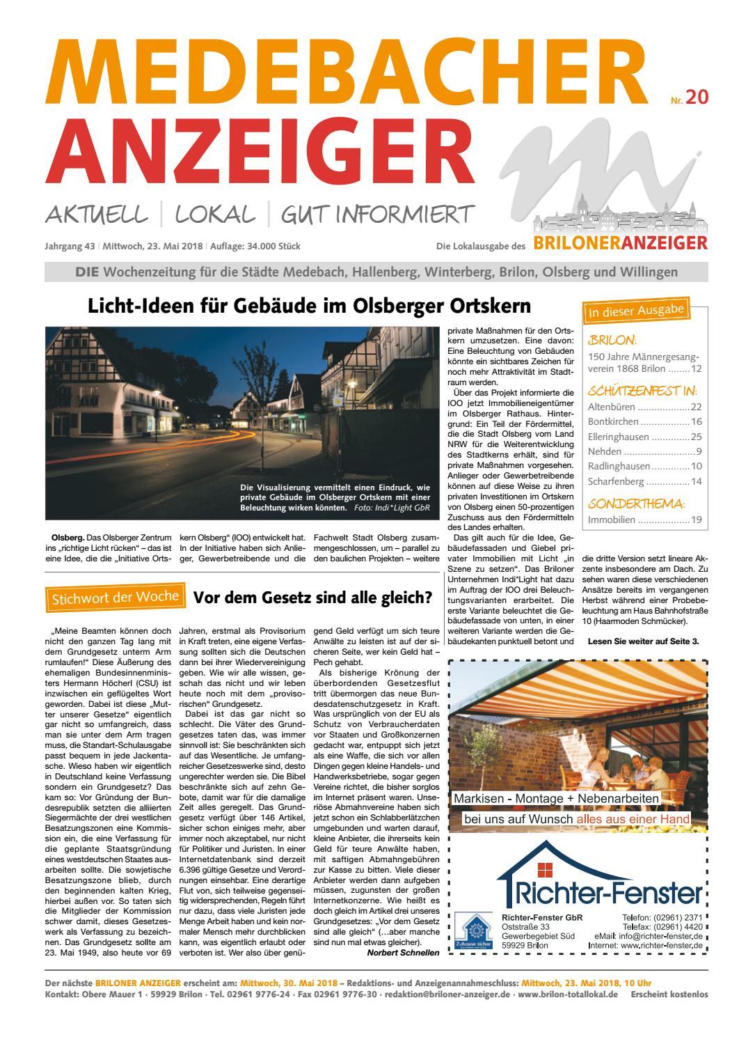 Medebacher Anzeiger Ausgabe Vom 23.05.2018 Nr.20 By Brilon Totallokal    Issuu