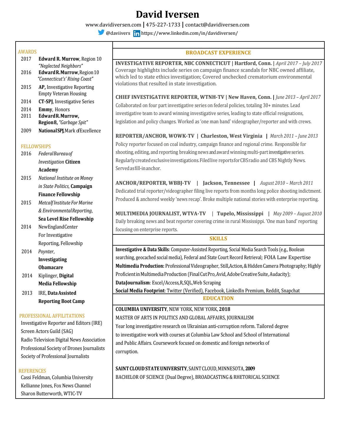 David Iversen Resume by David Iversen - issuu
