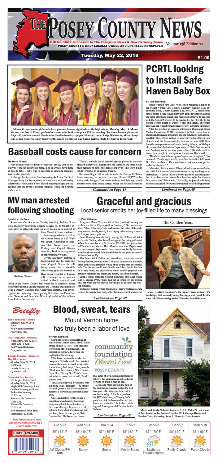 The Posey County News - May 22, 2018 by The Posey County