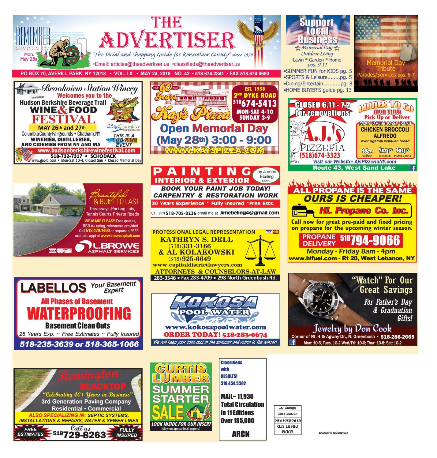 Advertiser North 052418 by Capital Region Weekly Newspapers - issuu