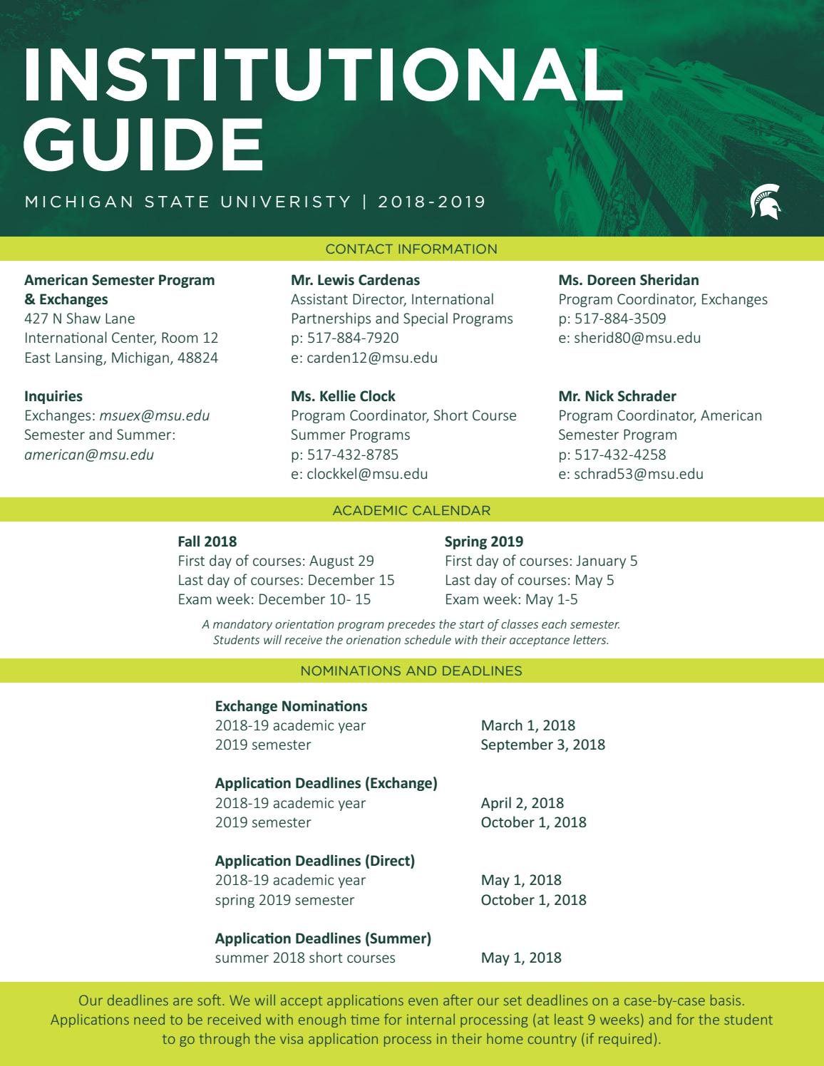 Msu Academic Calendar.Msu Institutional Guide 2018 19