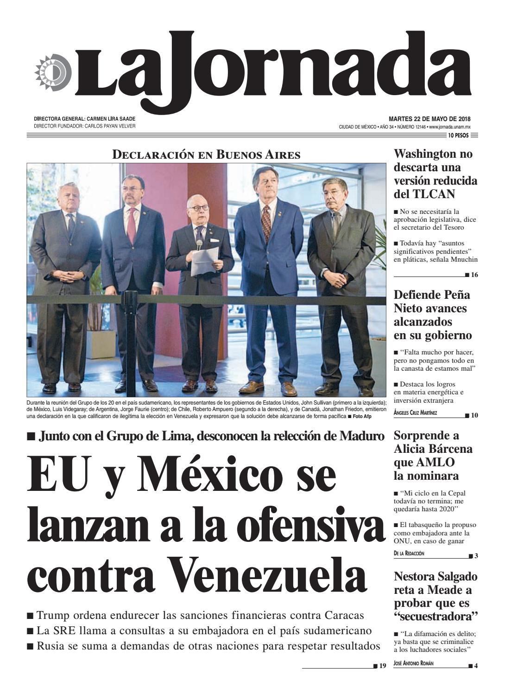 95d199147 La Jornada, 05/22/2018 by La Jornada - issuu