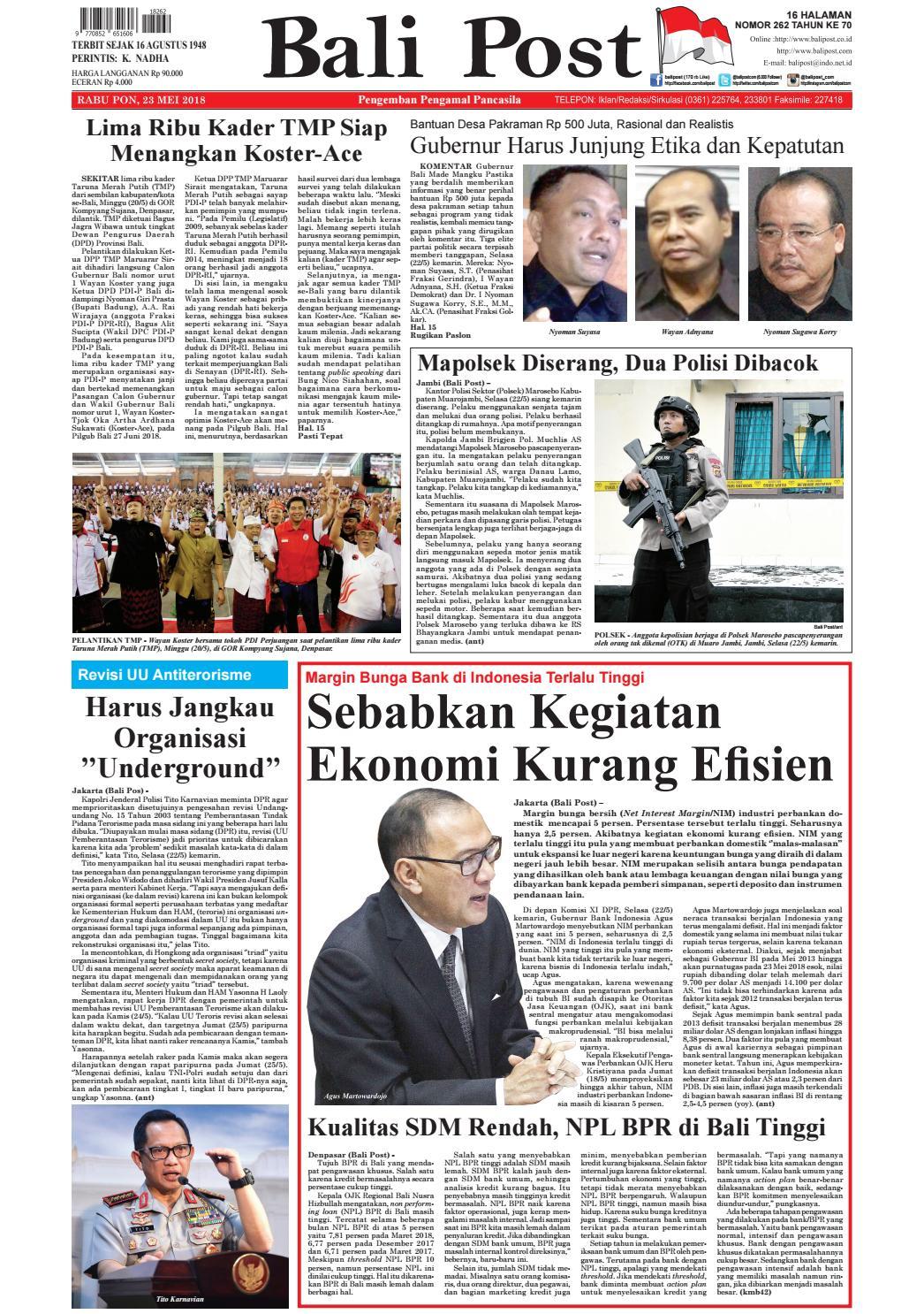 Edisi Rabu 23 Mei 2018 Balipostcom By E Paper Kmb Issuu Produk Ukm Bumn Bale Sehat Teh Rosella Merah 3 Box