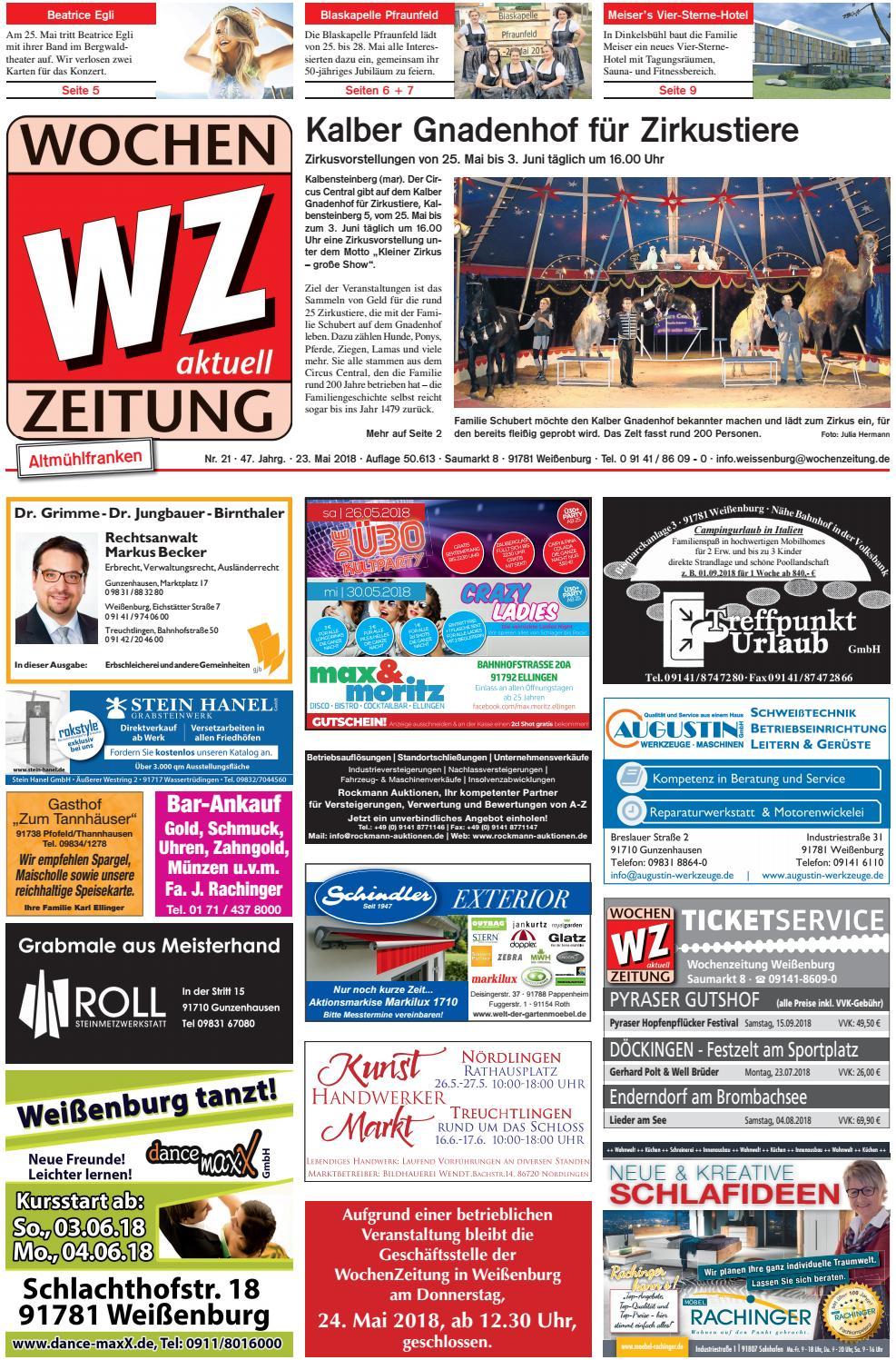 WochenZeitung Weißenburg KW 21.18 by WochenZeitung / SonntagsZeitung ...