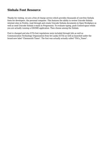 Sinhala Font Resource by xaviercampbell203 - issuu