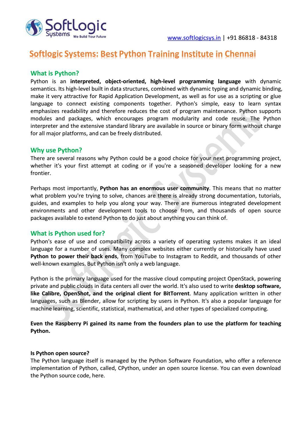 Softlogic Systems - Best Python Training Institute in