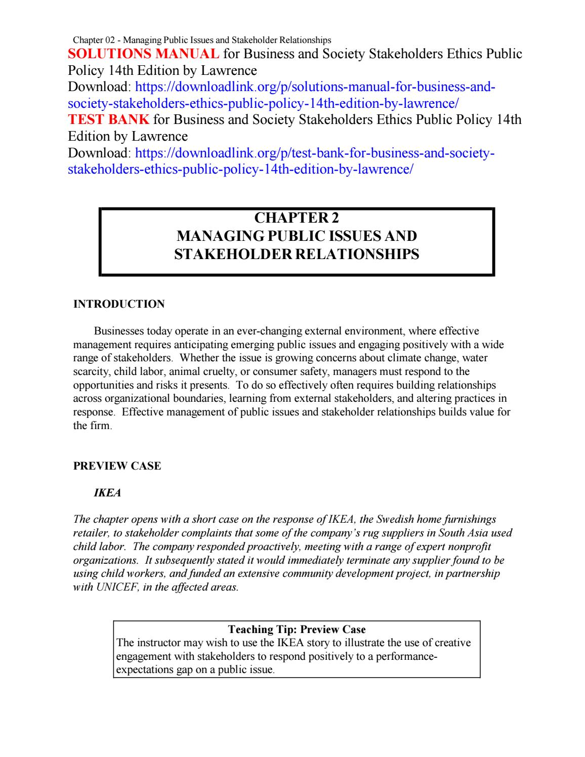 Solutions manual for business and society stakeholders ethics public policy  14th edition by lawrence by alaten - issuu
