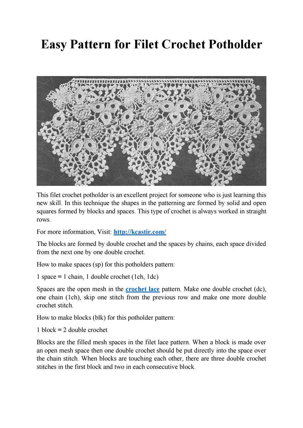 Easy Pattern For Filet Crochet Potholder By Lace Manufacturers Issuu