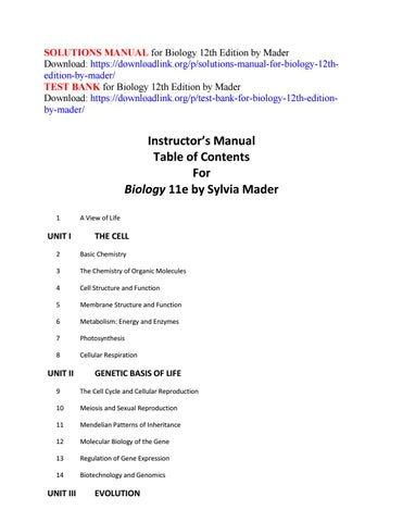 Solutions Manual For Biology 12th Edition By Mader By Alaten