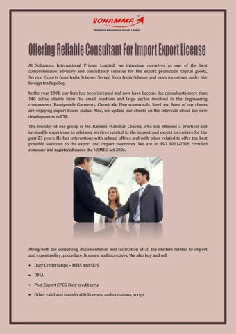 Offering Reliable Consultant For Import Export License by Sohamma