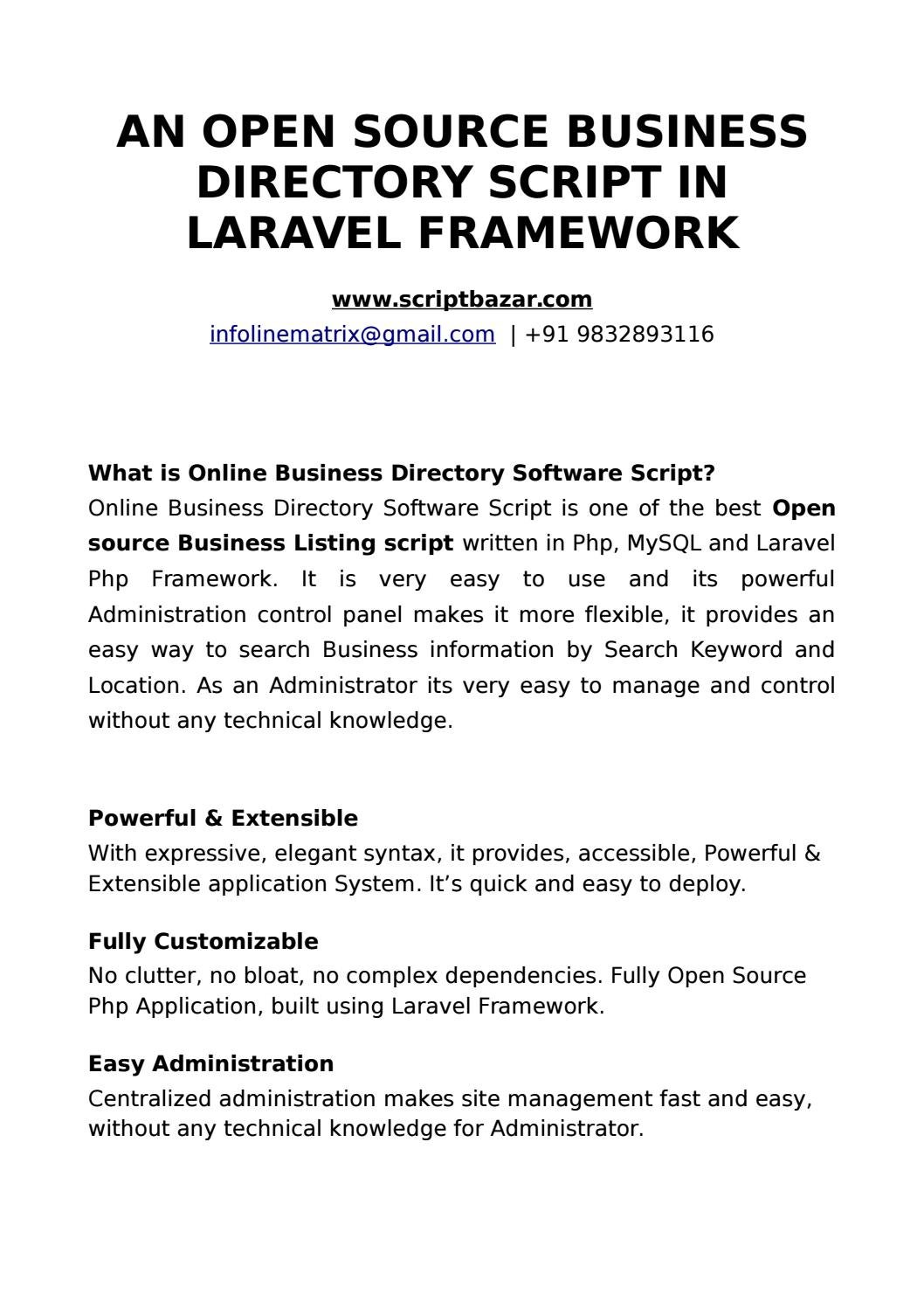 Business Directory Script in Laravel Framework by mail1