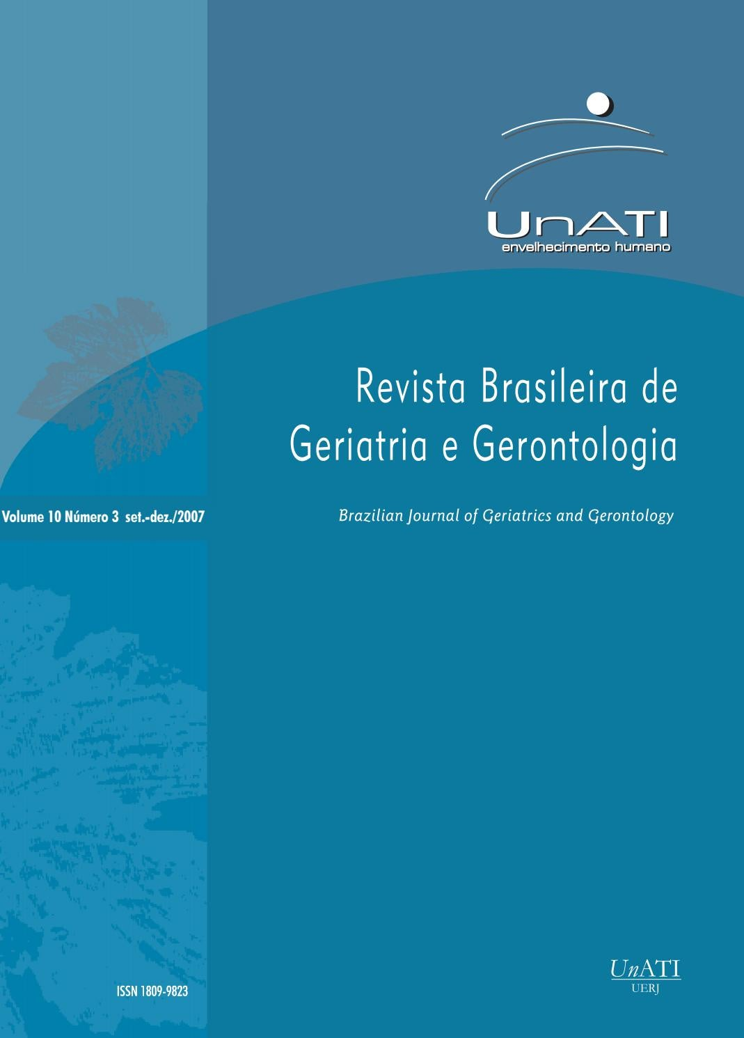b9cc6e3adf RBGG Vol.10 Nº3 - Setembro Dezembro 2007 by Revista Brasileira de Geriatria  e Gerontologia - RBGG - issuu
