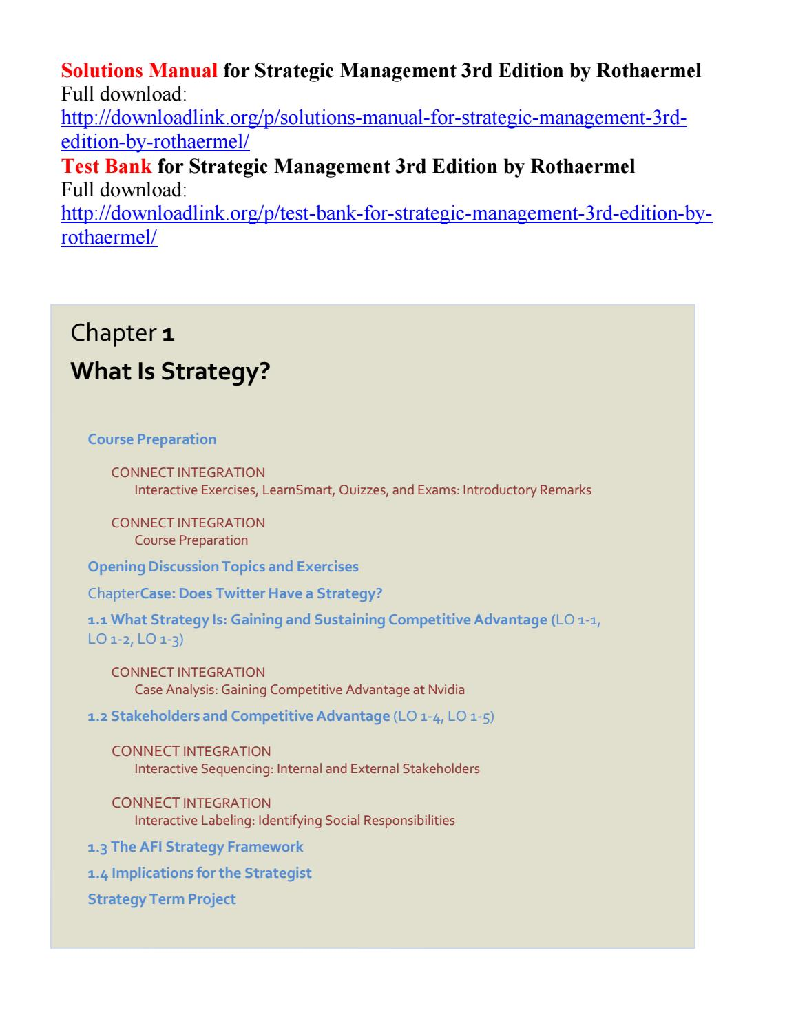 Solutions manual for strategic management 3rd edition by rothaermel by  Harvey111 - issuu