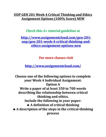 ethics and critical thinking