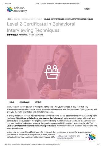 Level 2 certificate in behavioral interviewing techniques - Adams