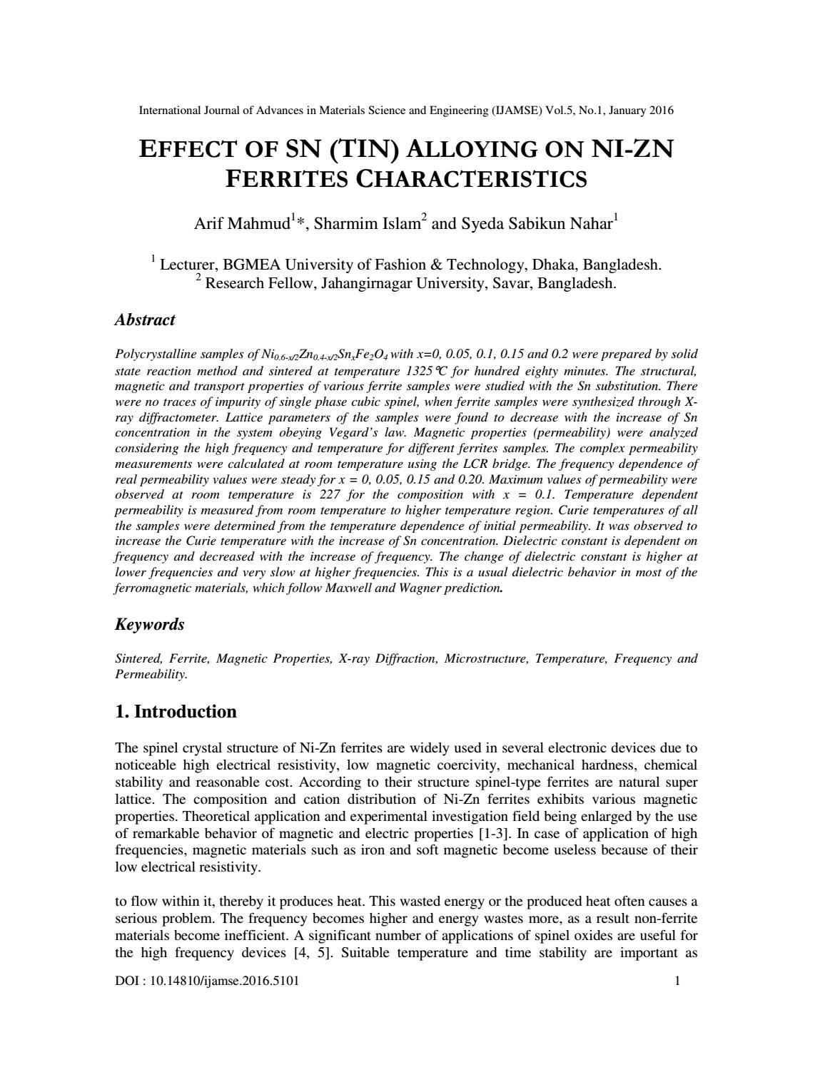 EFFECT OF SN (TIN) ALLOYING ON NI-ZN FERRITES CHARACTERISTICS by