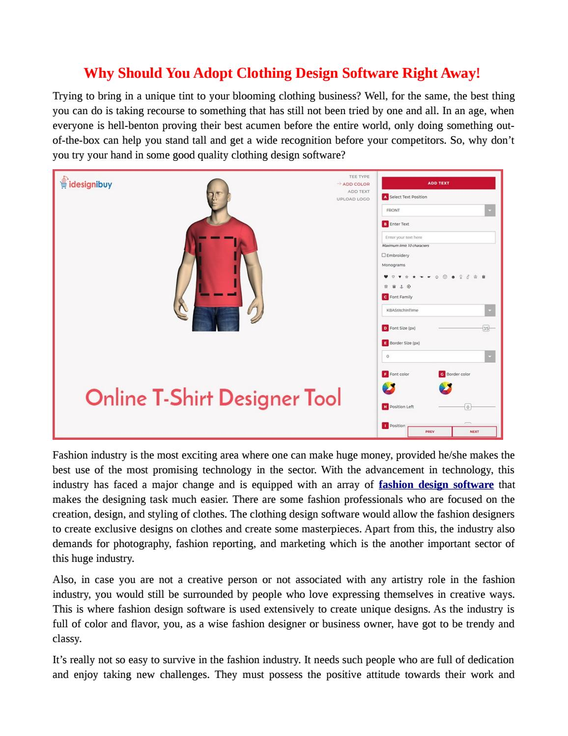 Why Should You Adopt Clothing Design Software Right Away By Idesignibuy Issuu