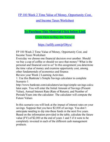 Fp 100 week 2 time value of money opportunity cost and income fp 100 week 2 time value of money opportunity cost and income taxes worksheet ibookread Download