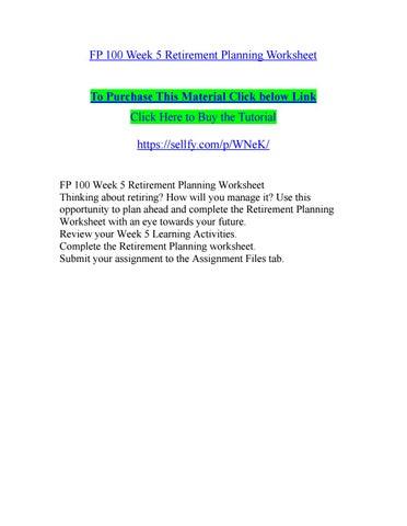fp 100 week 5 retirement planning worksheet by r ichar dsonindia12