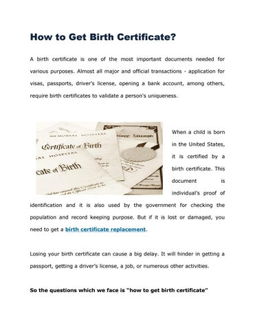 Birth certificate replacement by Richa Kapoor - issuu