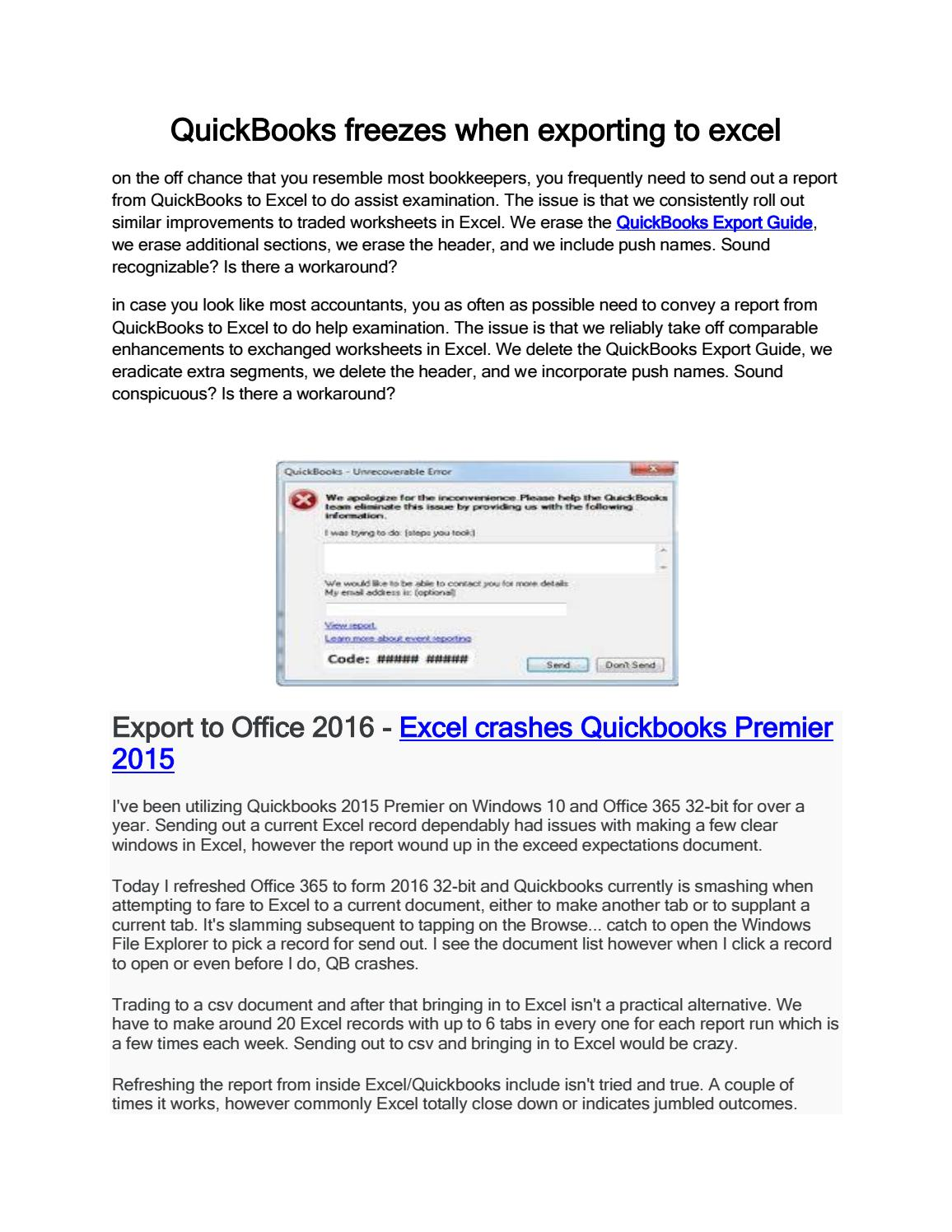 QuickBooks freezes when exporting to excel 1800-940-7442 by